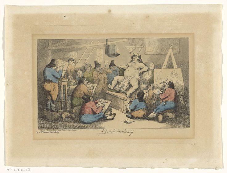 Spotprent op de Nederlandse kunstacademie, Thomas Rowlandson, 1792