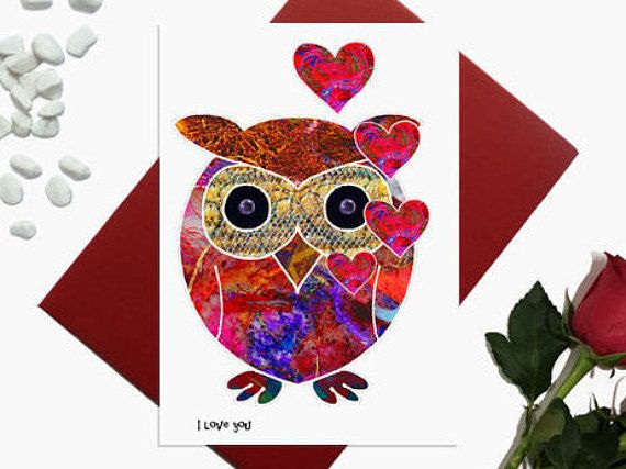 Valentine's day card  Cute Owl  Owl with hearts I love
