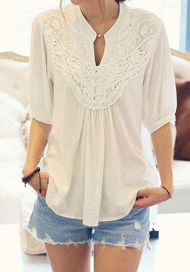 lace splicing crochet flower half sleeve casual blouse gonchas