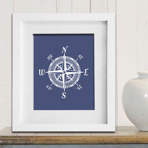 Nautical compass art print Modern nursery art Cottage beach house decor Bedroom wall art Navy Blue Boys room art. $9.99, via Etsy.