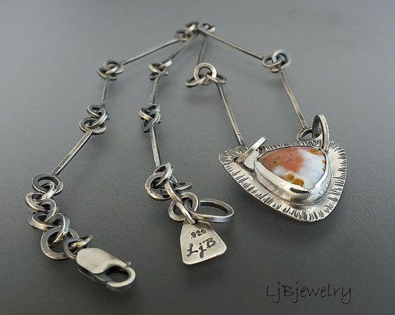 Silver Necklace Gemstone Necklace Ocean Jasper by LjBjewelry