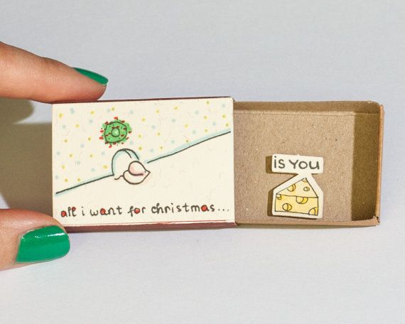 Funny Love Christmas Card/ Mouse Cheese Christmas Greeting Card/ Romantic Holiday Card/ Matchbox/ Small Gift box/ All I want for Xmas is You