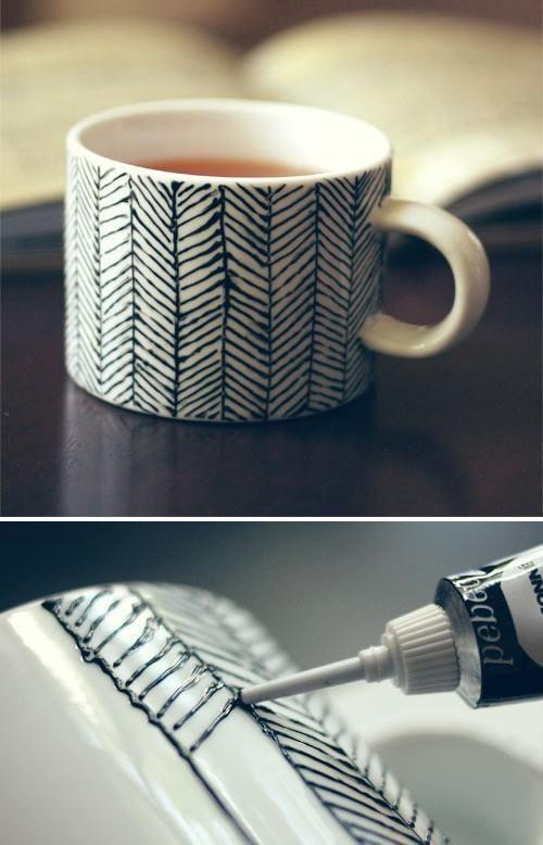 Black & White paint pen ceramic chevron design idea
