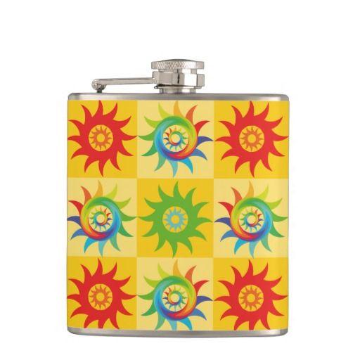 Coloridas formas patrón abstracto soles. Producto disponible en tienda Zazzle. Product available in Zazzle store. Regalos, Gifts. Link to product: http://www.zazzle.com/coloridas_formas_patron_abstracto_soles_flask-256960302061146958?CMPN=shareicon&lang=en&social=true&rf=238167879144476949 #bottle #botella #petaca #flores #flowers