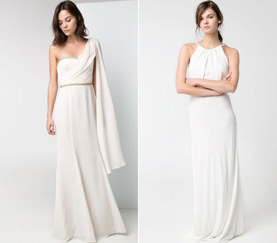 Görögös szabású, elegáns fehér ruhák, melyek csodaszépek. A félvállas 37 995 forintba kerül, a magas nyakállású pedig 25 995 forintba.