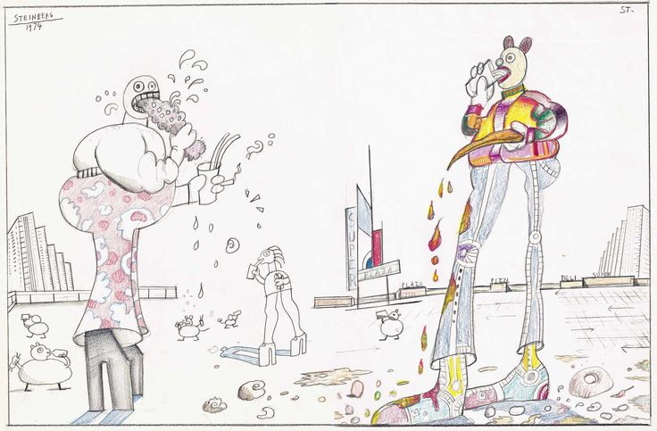 Untitled, 1974. Pencil and colored pencil on paper, 13 ¾ x 20 7/8 in. The Art Institute of Chicago; Gift of The Saul Steinberg Foundation.