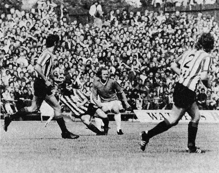 5th August 1972. Sheffield United house hippie Trevor Hockey making a crunching tackle during the Watney Cup Final, against Bristol Rovers.