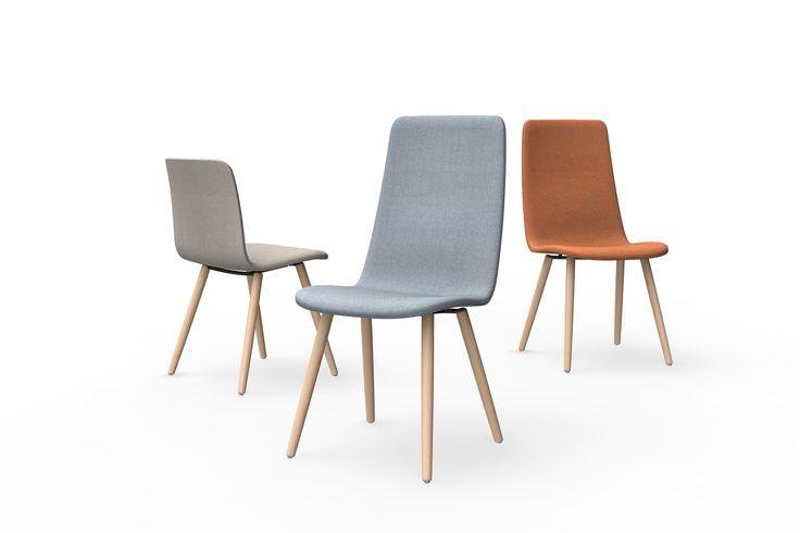 Sola-neuvottelutuolia saa sekä matalalla että korkealla selkänojalla ja sen puinen jalusta luo tilaan kodikkaan yleisilmeen.