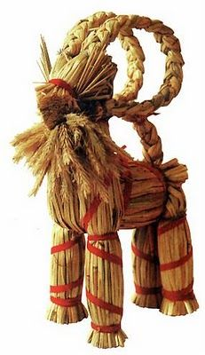 The Yule Goat is one of the oldest Scandinavian Yule symbols and traditions. Its origins might go as far back as to pre-Christian days, where goats were connected to the Norse god Thor, who rode the sky in a chariot drawn by two goats, Tanngrisnir and Tanngnjóstr, and carried his hammer Mjöllnir.