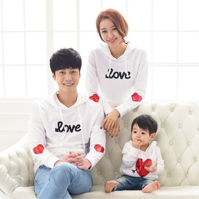 Family Hoodie T shirt For Couples And Lovers Clothes Spring Casual Love Heart Pattern T-shirts Family Clothes hooded sweatshirts