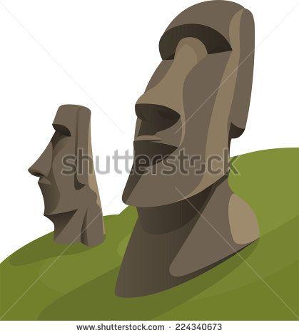 Moai Moais Monolithic Statues Polynesia Easter Island, vector illustration cartoon. - stock vector