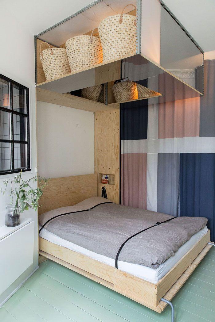 scandinavian interior design, fold away bed for small spaces / studio