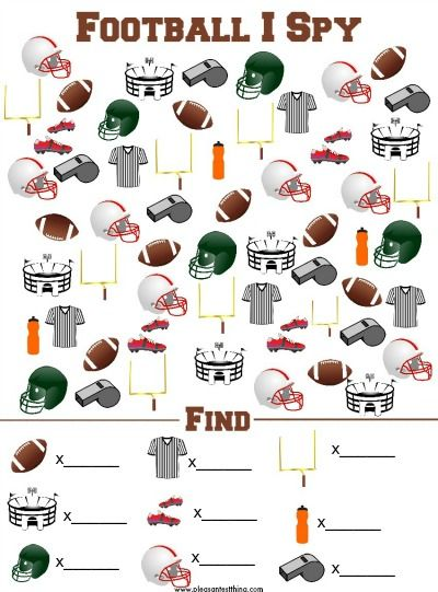 Football I Spy Game - free printable! Fun idea for kids for the Superbowl