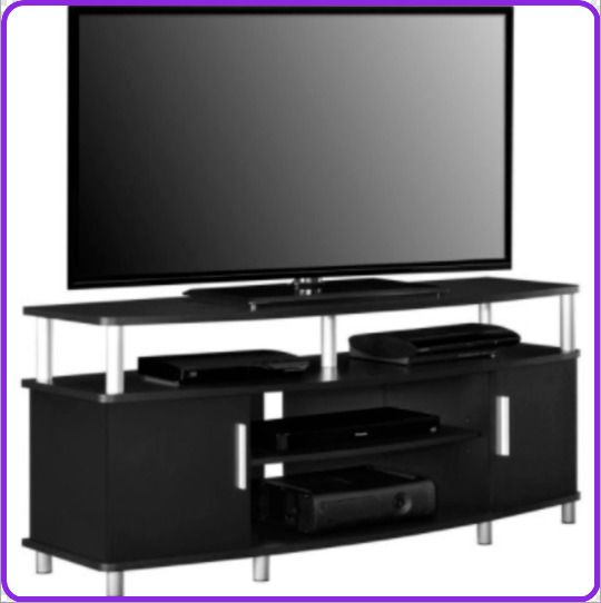 TV Stand for 50 Inch TV Black w/ Storage Wood Compartment Sturdy Wide FAST SHIP #Ameriwood