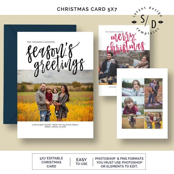 Items Similar To Seasons Greetings Christmas Cards Photoshop Template Photo Christmas Card Calligr Christmas Photo Cards Christmas Cards Holiday Photo Cards