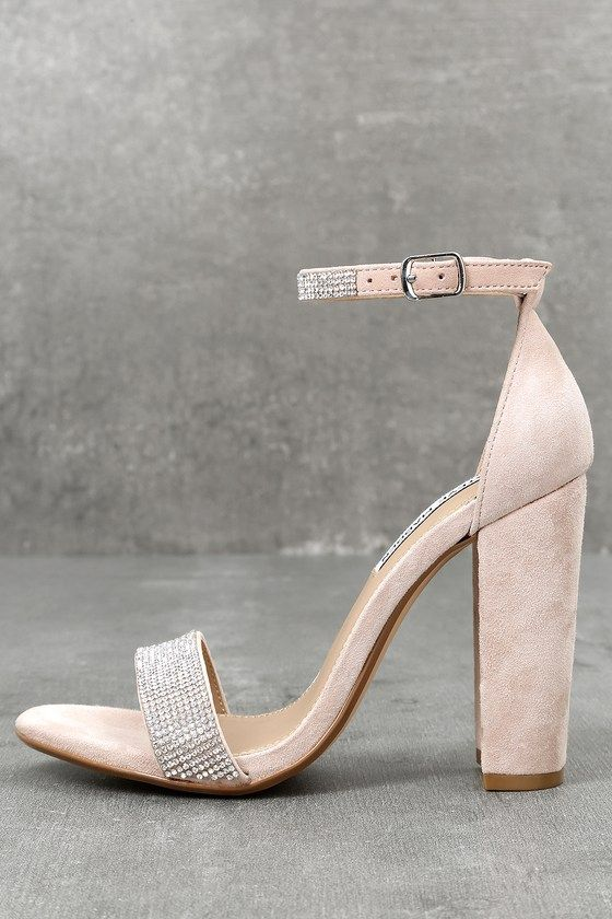5fe3c61685b The Steve Madden Carrson-R Rhinestone Nude Suede Leather Ankle Strap Heels  are on fire with a simple design that is a total knockout!