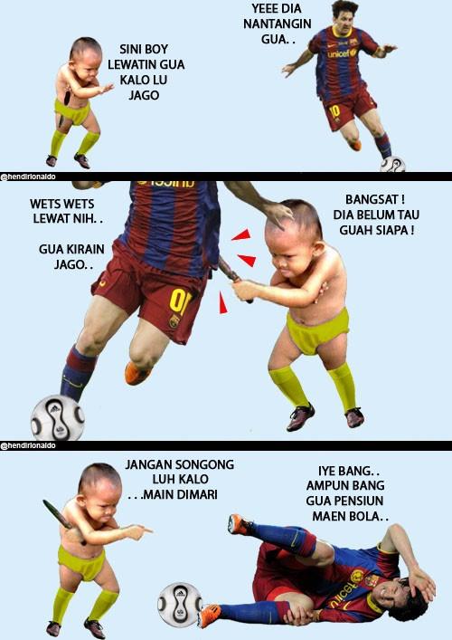 Mat Kosim nantangin Mesi maen bola! - @hendirionaldo