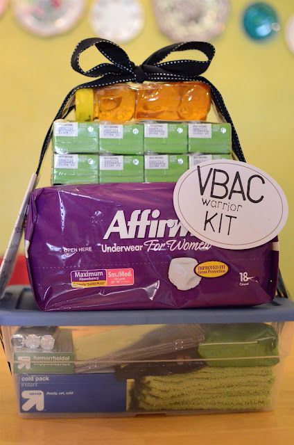 Birthing/labor kit (so cute, those underwear are a life saver for those first days after giving birth! and for those that dont know what vbac means = vaginal birth after c-section!)