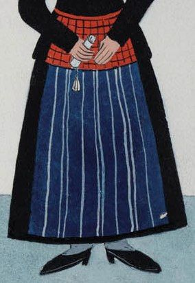 """Detail of """"Vrouw en meisjes in dracht van Hindeloopen"""" (Woman and maidens in the clothing of HIndeloopen."""" A woman with the black mourning kletje (jacket) of early and middle 1700.  Artists: N. Huppes and Hendrik J. Lap, 1849. Women's costume of the town of Hindeloopen, province of Friesland, The Netherlands."""