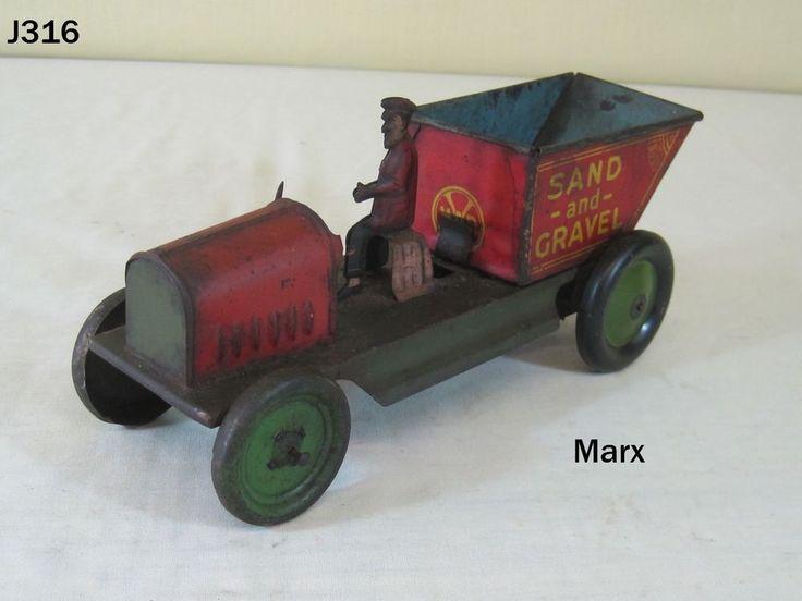 VINTAGE LOUIS MARX TIN LITHO WIND UP SAND AND GRAVEL DUMP TRUCK TOY ANTIQUE RARE #Marx