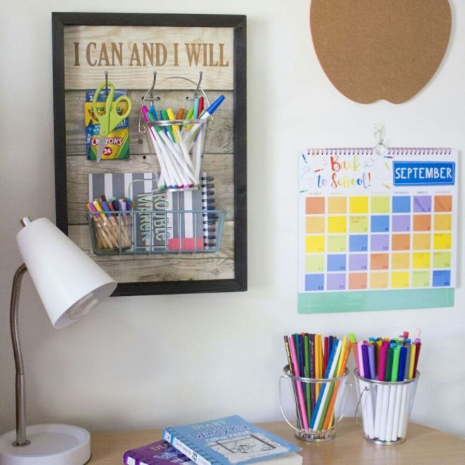 Keep kids homework space organized with our personalized Wood Pegboard.