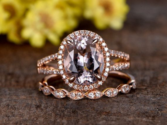 8x10mm Oval Cut VS Pink Morganite engagement ring setMarquise