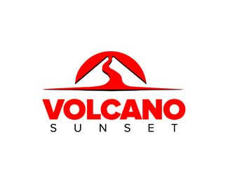 volcano sunset Logo design - Stylized design, sunset with volcano. Price $300.00