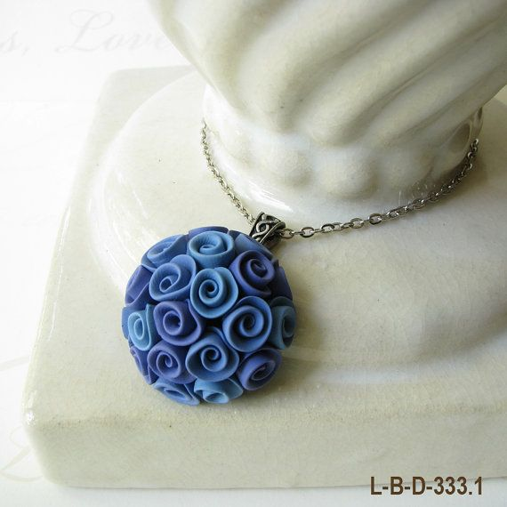 Li'l Bouquet Midnight Blue Roses Polymer Clay Pendant Necklace