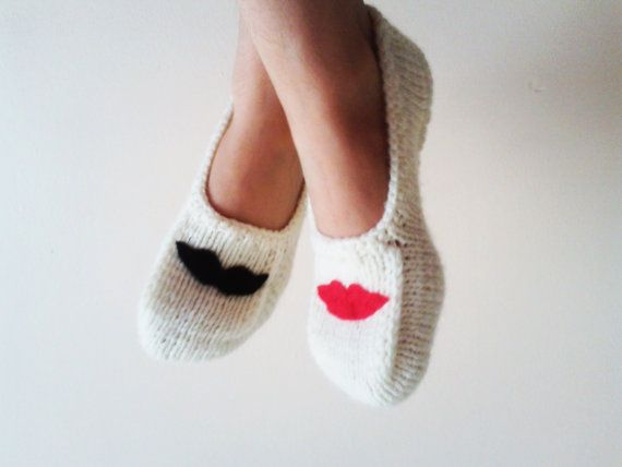 Handmade Slippers /Felt Lip and Felt Mustache Appliques / Cream Slippers / Gift for Lover / Christmas Gifts on Etsy, $21.90