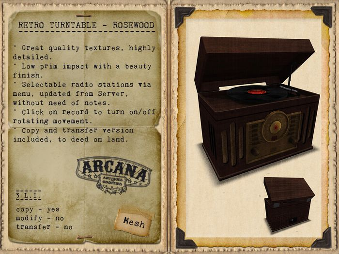 {A} Retro Turntable - Rosewood
