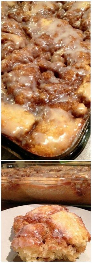 Cinabun Cake (Cinnamon Bun Cake) _ If it tastes half as good as it looks, it might be gone by midnight! It's that good! Quite the sweet treat, & a perfect pairing with a cup of coffee or a big ole glass of milk. Wow...this could be dangerous!