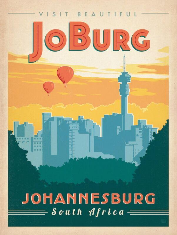 South Africa: Johannesburg vintage travel poster