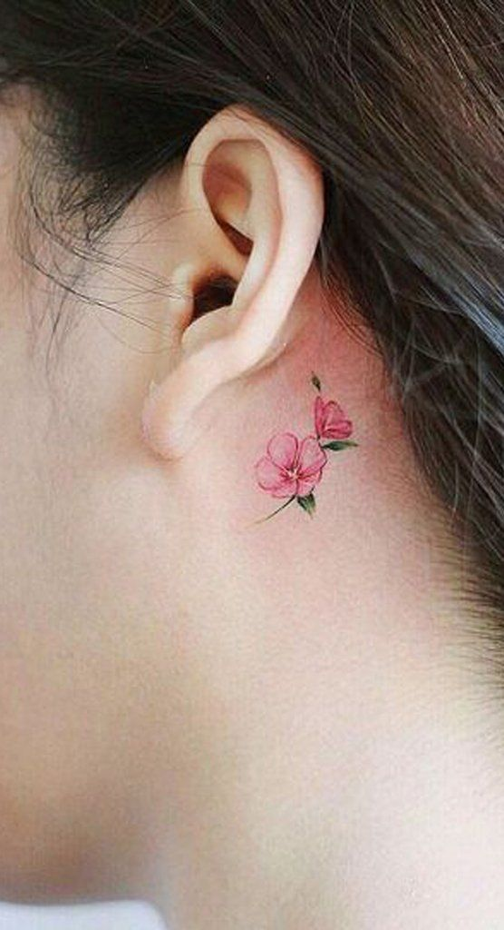 Cute Small Pink Watercolor Behind the Ear Tattoo Ideas for