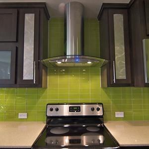 Lime Green Subway Tile Backsplash Kind Of Liking The Dark Wood Brown Cabinets