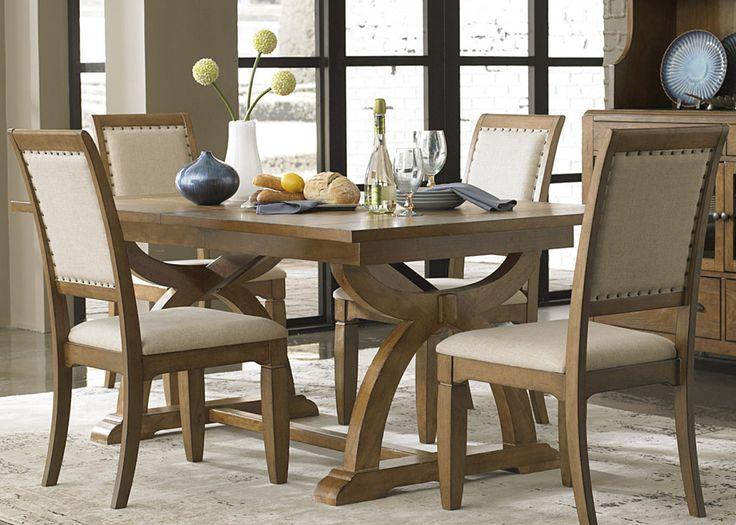 Liberty 5 Piece Trestle Table Set Distressed Sandstone W White Powder Glaze