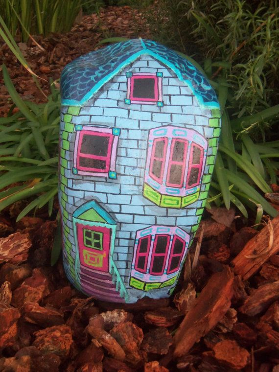 Blue Pink Purple Victorian Home Painted River Rock