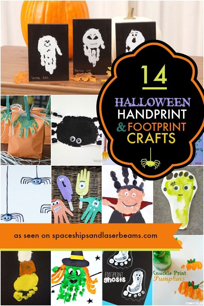 14 #Halloween Handprint/Footprint Crafts for Kids! #preschool #kidscrafts (repinned by Super Simple Songs)