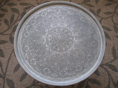 Persian Hand Hammered Ghalam Zani Copper Tin Tray Large