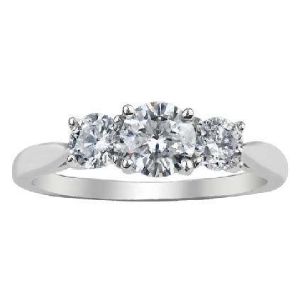 Canadian diamondtrilogy ring, 0.75ct of diamondsetin a18ct white gold ring.   Both gold and diamonds are separatelycertified as Canadian.  If the size you require is not listed please contact us on
