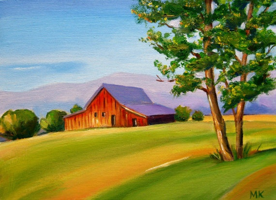Landscape Oil Painting Red Barn Trees Birthday by ...