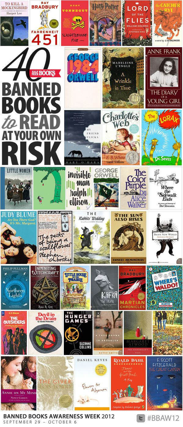 What a shame these have been banned! ive read nearly half on this list and most were school assignments. i thoroughly enjoyed 90% of these reads and in fact, still own several of them. ~ hsc  The Half Price Blog - The Official Blog of Half Price Books - 40 Banned Books to Read at Your Own Risk