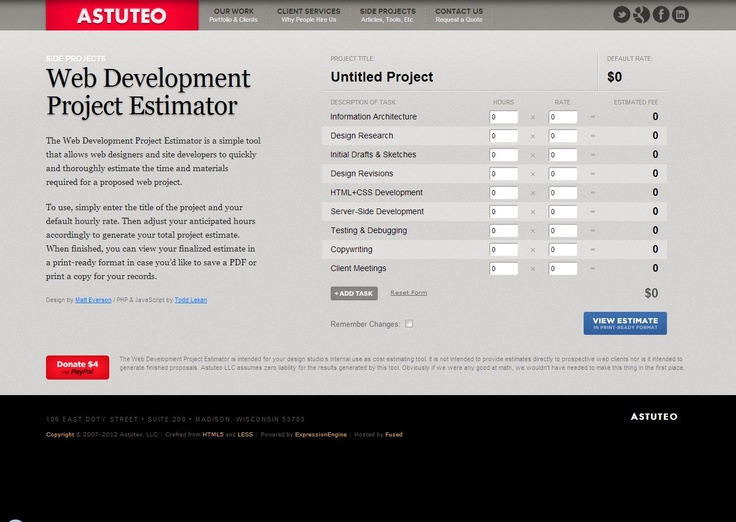 Web Development Project Estimator tool