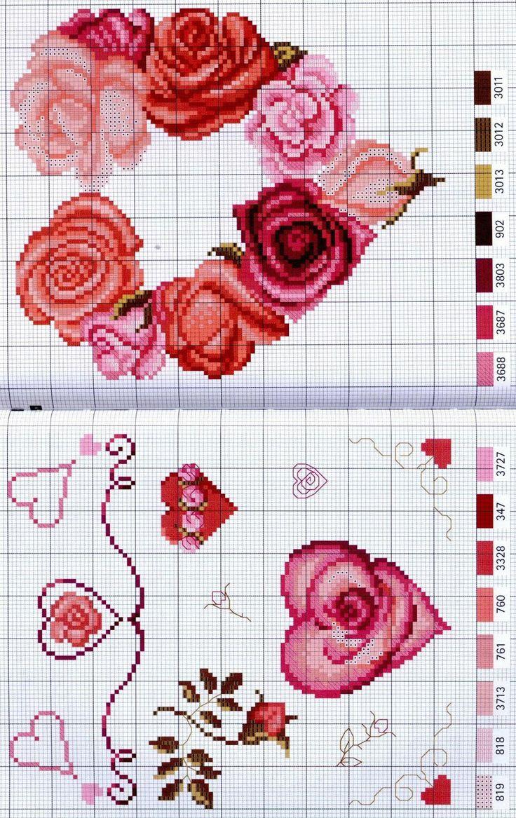 Cross-stitch Floral Hearts...     GRAFICOS PUNTO DE CRUZ GRATIS : CORAZONES(47)
