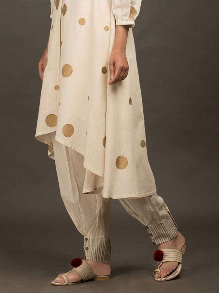 Cream Cotton Hand Block Printed Dhoti Pants