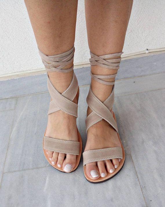 Griekse lederen sandalen grijze sandalen suede sandalen
