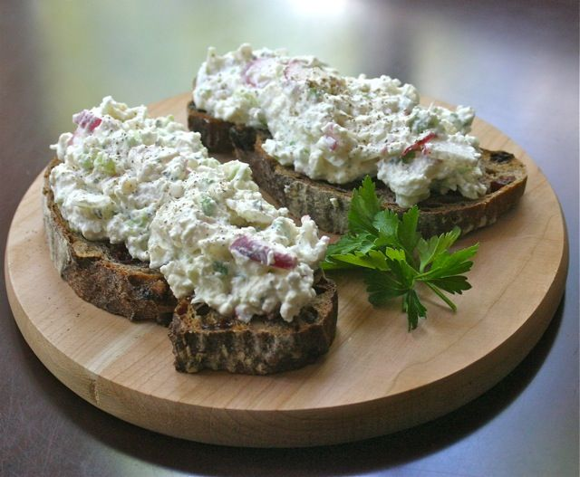 Polish Farmer's Cheese Spread -- lots of radishes, onions, and fresh herbs!    See full recipe on site: polskafoods.com