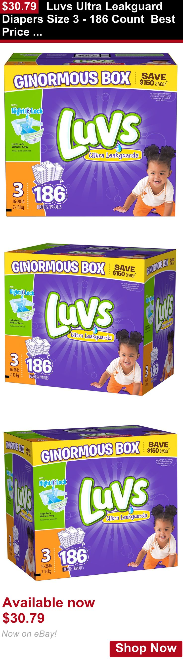 Disposable Diapers: Luvs Ultra Leakguard Diapers Size 3 - 186 Count Best Price And Free Shipping! BUY IT NOW ONLY: $30.79