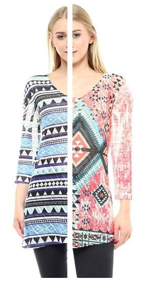 Jubilee Couture Aztec Tribal Medival Print 3 by 4 Sleeve T Shirt - Made in USA