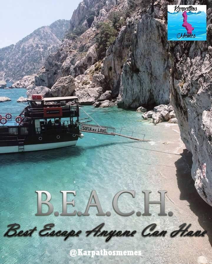 BEST ESCAPE ANYONE CAN HAVE: BEACH! #BEACH #LIFE  #karpathos #memes #karpathosmemes #greek #quotes #island #BOAT #ESCAPE