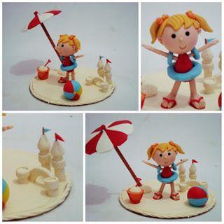 Lembrancinha e topo de bolo - Biscuit Making Of : Topo de bolo praia - Marcia Correa